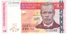 MALAWI 100 Kwacha VF/XF Banknote (1 October 2003) P-46c Prefix AW Paper Money