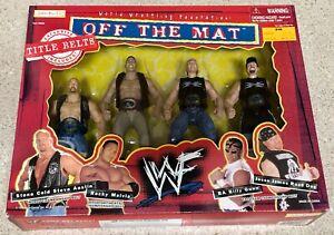 WWE JAKKS OFF THE MAT TITLE BELTS BOX SET STEVE AUSTIN THE ROCK NEW AGE OUTLAWS