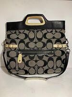 COACH Bonnie Signature Purse FOLDOVER SATCHEL SHOULDER BAG  M0873-13386 Black