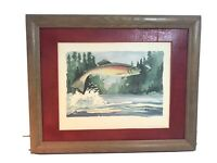 original watercolor painting signed framed fish jumping Fishing Rustic