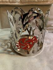 Set of 2 Yankee Candle Metal Jar holders with Ribbon Bow Peppermint Candy Holder