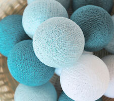20 LOOSE COTTON BALLS NOT INCLUDE LIGHT STRING, Patio Party, Wedding - Teal Tone