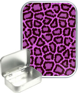 Pink Leoparrd Print Small Silver Hinged Gift Tin, 30ml Hinged Tobacco Tin, Craft