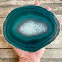 "Extra Large Teal Agate Slice: Approx 6.85"" Long Crystal Stone Geode Quartz"