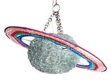 Pendant Lampshade in shape of Planet Saturn with Rings- made from recycled glass