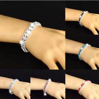 Rhinestones Bracelets Bangle 3 Rows Diamante Bling Crystal Women Fashion Gift UK