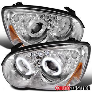 For 2004-2005 Subaru Impreza WRS Clear LED Dual Halo Projector Headlights Lamps