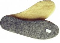 Wool Sheepskin on Felt Thick Fluffy Slipper Shoes Boots Insoles Unisex All Sizes