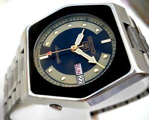 "1970's ""Vintage Japan"" ""SEIKO 5. Automatic BLACK/CREAM Day Date Men's watch....."