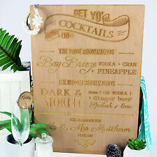 Personalised Favours Cocktail Hour Bar Drinks Menu / Sign for Wedding Reception