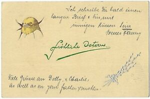 Easter Postcard Chick Breaking Through Egg Shell Coloured Card c.1911