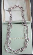 "Judith Ripka Sterling Silver Diamonique Triple Strand Necklace 20"" w Box & Pouch"