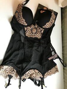 Victorias Secret Very Sexy Black Garter Slip Set NWT 36B 3pc Stockings Ltd Ed