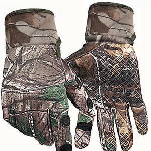 Autumn Winter Outdoor Real Tree Hunting Bionic Camouflage Full Finger Gloves