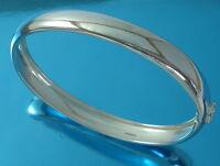 Solid 925 Sterling Silver Bangle Bracelet Plain Oval 10 mm D-Shape UK Hallmarked