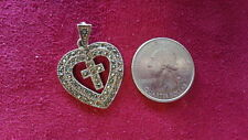 """Beautiful Sterling Silver Vintage Big Heart Cross Religious Marcasit """"3.3g""""*D234"""