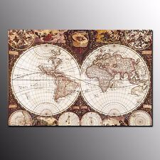 FRAMED HD Canvas Print Photo World Map Wall Painting Art For Home Office Decor