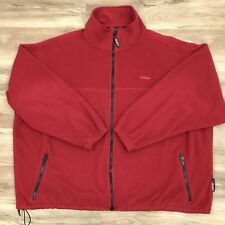 Cabela's Mens Polartec Fleece Full Zip Jacket Sweater Made In USA Red Size 3XL