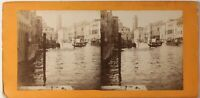 Venezia Grand Canal Italia Foto Stereo PL46L3n Vintage Albumina c1885
