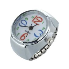 Silver Alloy Quartz Round Dial Pocket Finger Ring Watch T6Q8