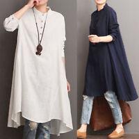 Womens  Cotton Linen Loose Casual Boho Tunic Long Sleeve Long Blouse Shirt Dress