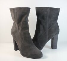 NINE WEST Grey Suede Pull On Heels Ankle Boots Women's Sz 7.5M