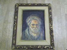 Vintage Mid Century Oil Painting on Canvas Board Middle Eastern Man