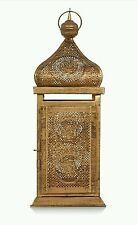 GRANDE Arabo Marocchino Decorata Vintage Oro Alto di metallo 36 cm LANTERNA Eid Ramadan