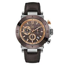 Guess Collection Men's Chronograph Watch GC-1 Brown Ceramic Bezel Leather Swiss