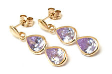 9ct Gold Double Lilac CZ Teardrop Earrings Made in UK Gift Boxed