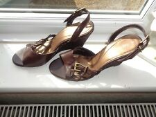 "BARRATTS LEATHER LOOK SANDALS SLING BACKS WEDGE HEELS 3.75"" SIZE 4~  BNWOT"