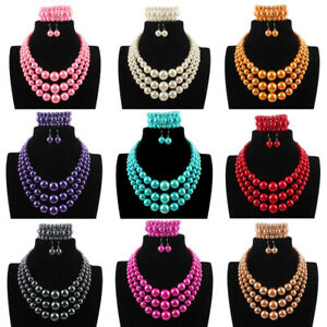 Charm Women Statement Chunky Choker Pearl Necklace Bracelet Earrings Jewelry Set