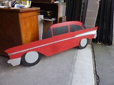 "c1960-70's ~ 1950's CHEVY car CUTOUT sign WALL ART restaurant decor 94"" x 31"""