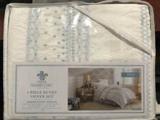 Simply Shabby Chic White Blue Bohemian Embroidered Duvet Cover Twin Sham $79.99