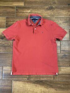 Tommy Hilfiger Polo Men's M Short Sleeve Shirt Red Medium Classic A1