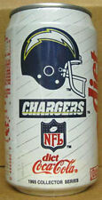 DIET COCA-COLA, Coke, Soda CAN, 1993 SAN DIEGO CHARGERS, NFL Football Team Gd.1+
