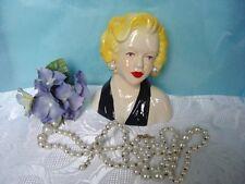PRETTY LADY HEAD VASE - black dress with pearl earrings