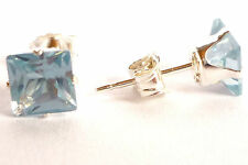 925 Sterling Silver Aquamarine Stud Earri NGS Square 5mm Created Stone Sk772