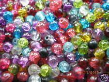 200 x 6 mm perles craquelé COULEUR MIXTE, en verre fabrication de bijoux, perles