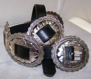VINTAGE 1993 BRIGHTON BELT SUNFLOWER CONCHO BLACK LEATHER MEDIUM 36""