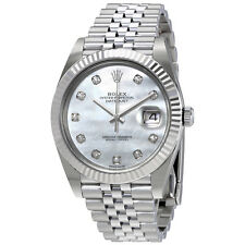 Rolex Oyster Perpetual Datejust White Mother Of Pearl Diamond Dial Mens Watch