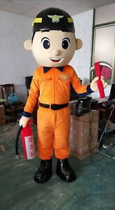 Fireman Mascot Costume Suit Cosplay Party Game Dress Outfit Halloween Adult
