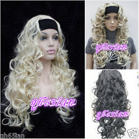 NEW Ladies wig Long Black/Brown mix/blonde 3/4 with headband Curly wigs
