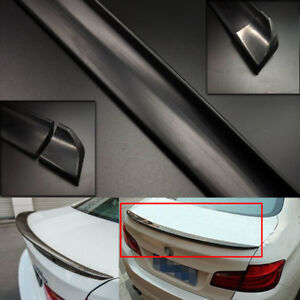 4.9ft Universal Black PU Car Spoiler Roof Trunk Rear Wing Lip Sticker Body Decor