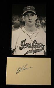 Vintage 1950s Playing Days Bob Lemon Signed Index Card HOF D 2000 JSA Auth