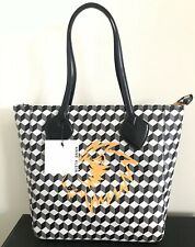 Anne Klein Handbag Purse Large Georgia Tote Grey Multi Black Lion Faux Leather