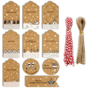 2022 NEW Christmas Kraft Paper Gift Tags Scallop Label Luggage + Strings A x100