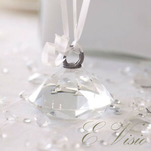 12 x Crystal Diamond Balloon Weights Silver Wedding Party Event Accessories New