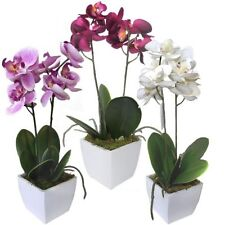 3 Artificial Potted Orchids - Pink Fuschia White - 33cm Tall - Orchid Flowers