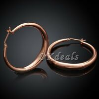 Anti Allergy Big Hoop Earrings18K Rose Gold Plated Fashion Jewelry For Women^^-